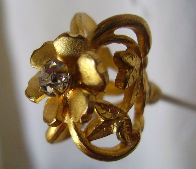 Primary image for Hat Pin 9in Long Victorian Full Figural Flower w/Brillant Ca 1890's