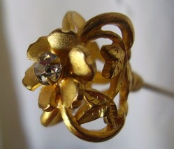Hat Pin 9in Long Victorian Full Figural Flower w/Brillant Ca 1890's    - $105.00