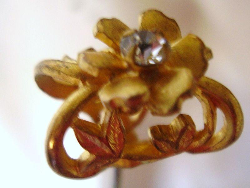 Hat Pin 9in Long Victorian Full Figural Flower w/Brillant Ca 1890's