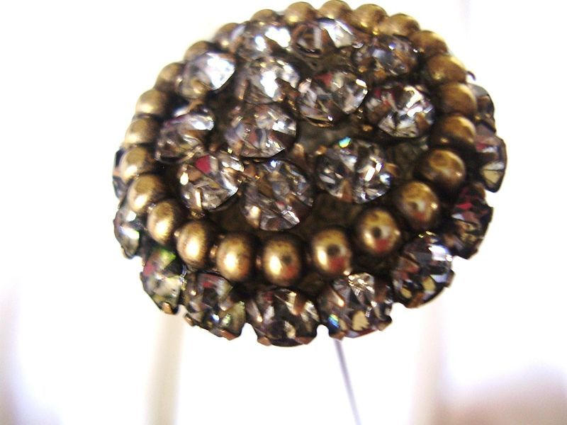 Antique Hatpin Long 12 inch Victorian Art Nouveau Rhinestones Unique Mount