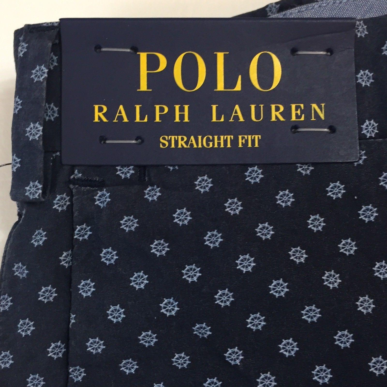 Polo Ralph Lauren Straight Fit Navy Blue Ship wheel Black Watch Shorts NWT Sz 33