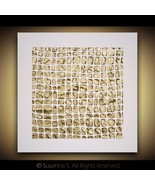 ORIGINAL Art Gold White Palette Knife TEXTURE Geometric Modern Abstract ... - $173.25