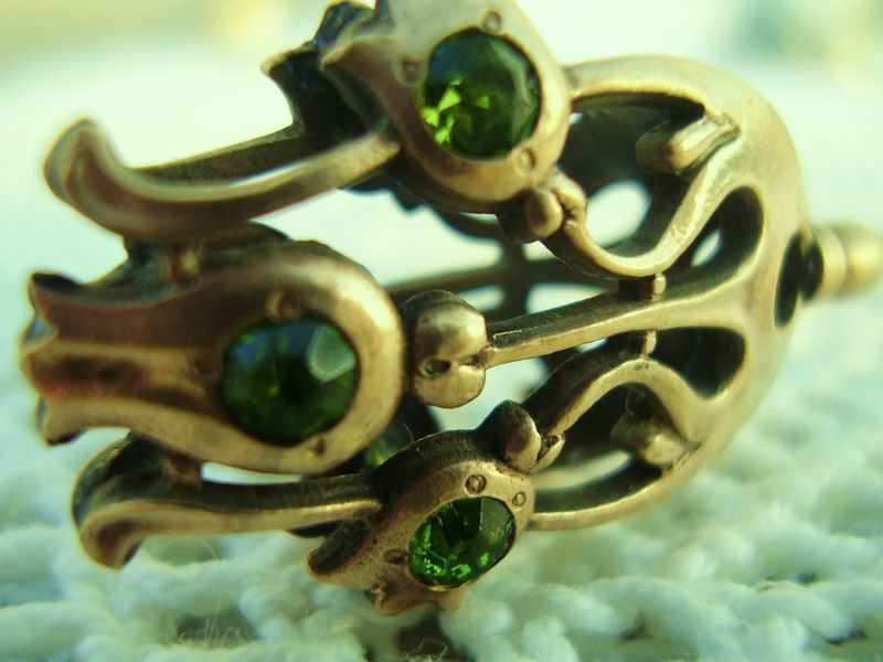 Primary image for Long Victorian Hat Pin 9.5in Antique Figural Tulip Green Stones
