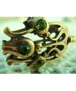Long Victorian Hat Pin 9.5in Antique Figural Tulip Green Stones      - $210.00
