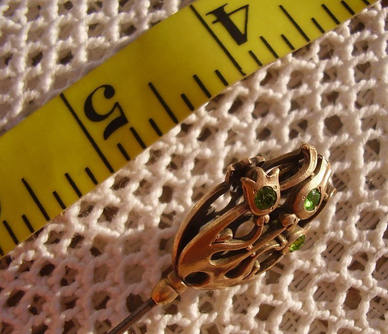 Long Victorian Hat Pin 9.5in Antique Figural Tulip Green Stones