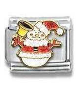 Christmas Snowman Italian Charm 9MM Glittery Great Gift!  Modular Charms - $5.99