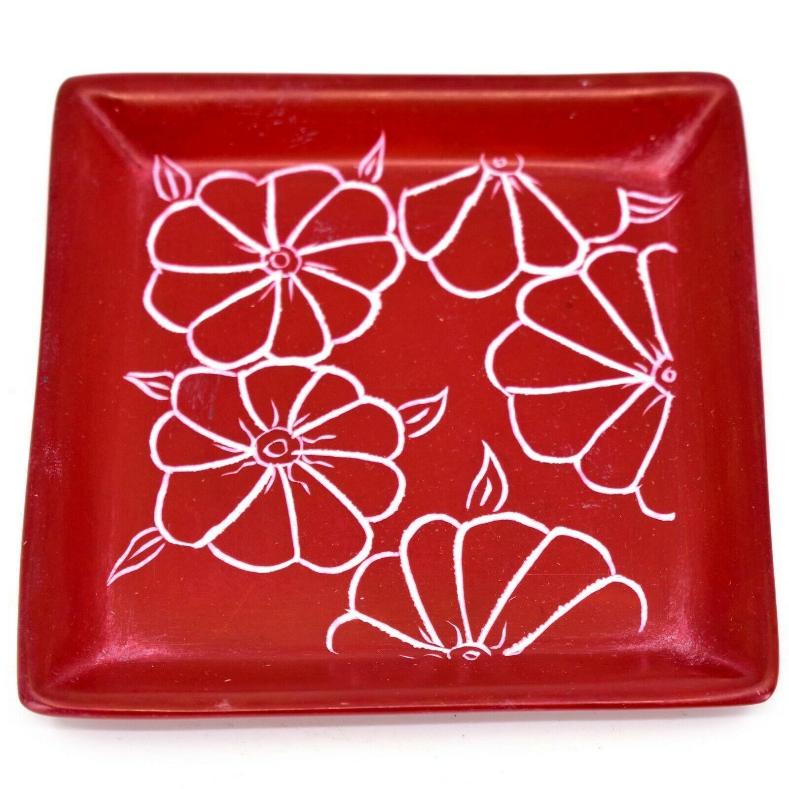 Tabaka Chigware Hand Carved Kisii Soapstone Red Floral Trinket Dish Kenya