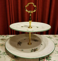 Mikasa Holiday Season Christmas 2 Tier Serving Tray Platter Candy Cookie... - $48.00