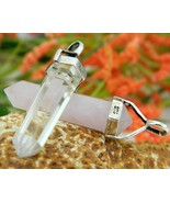 2 Vintage Crystal Quartz Pendants Sterling Silver Rose Clear - $24.95