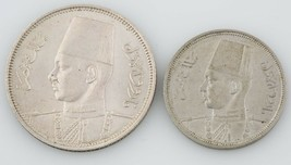 2 Egyptian coins Egypt 1939 5 Piastre 1941 5 Milliemes Almost Uncirculat... - $103.95