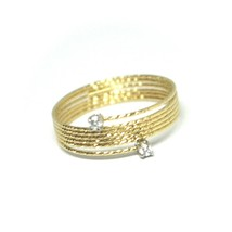 18K YELLOW GOLD MAGICWIRE RING, MULTI WIRES ELASTIC WORKED, contrarié, DIAMOND image 1
