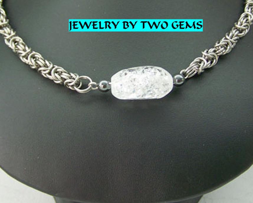 Jewelry By Two Gems (C39) Stainless Steel Byzantine Necklac