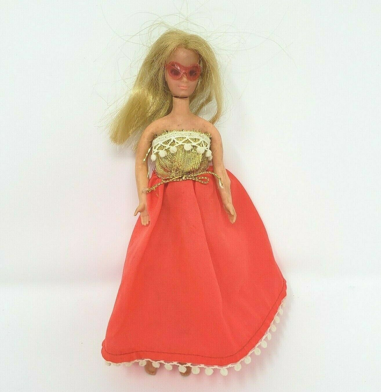 Primary image for VINTAGE RETRO 1970'S ROCK FLOWER BLONDE HEATHER RUBBER DOLL MATTEL HONG KONG