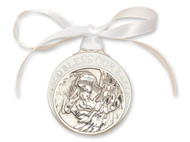 Crib Medal - Pewter Baby w/Angel with White Ribbon