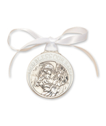 Crib Medal - Pewter Baby w/Angel with White Ribbon - $39.99