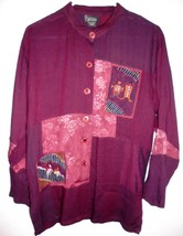 ENDLESS OPTIONS Oversized Shirt SMALL Women Magenta Patchwork Button Front - $16.03