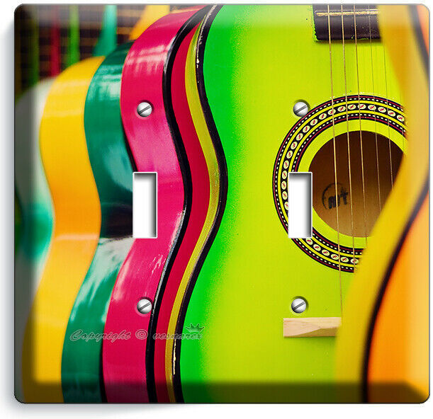 COLORFUL ACOUSTIC GUITARS 2 GANG LIGHT SWITCH WALL PLATES MUSIC STUDIO ART DECOR