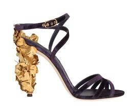 Dolce & Gabbana Purple Velvet Gold Leaf Sandal Shoes - $1,769.16