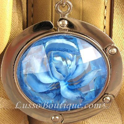 Primary image for Rose Handbag Holder Purse Hook with Clasp Blue free organza bag