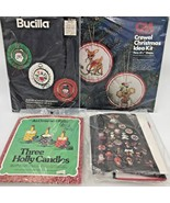 Vtg Christmas Ornament Embroidery Kits Lot 4 Bucilla Columbia Minerva Cr... - $39.95
