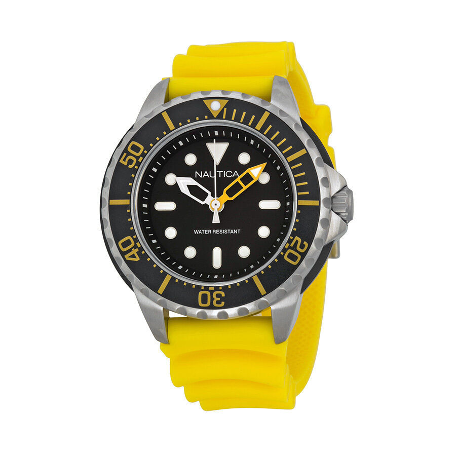 Primary image for Nautica Men's Yellow Resin Stainless Quartz Black Dial Diving Watch A18635G New