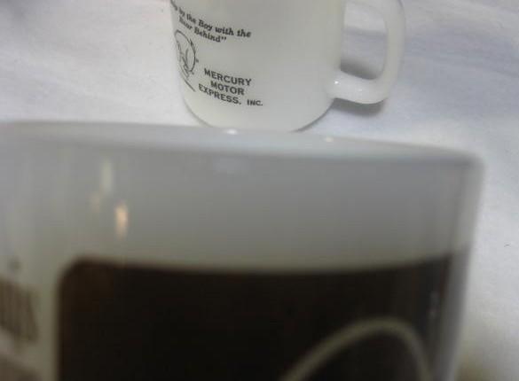 3 Glasbake Mugs - as is
