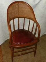 Oak Caned Firehouse Armchair Chair with leather seat  (AC78) - $247.50