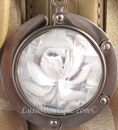Primary image for Rose Handbag Holder Purse Hook with Clasp White  free organza bag