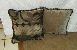 Pair Black Beige Tan Abstract Print Throw Pillows  18 x 18 - $59.95