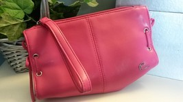 CANDIE'S Small Hot Pink Leather Cosmetic Handbag Wristlet Purse Tote Acc... - $14.84