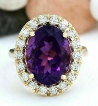 8 Ct Purple Amethyst  Luxury Diamond Ring For Womens 14K Yellow Gold Over - $79.20