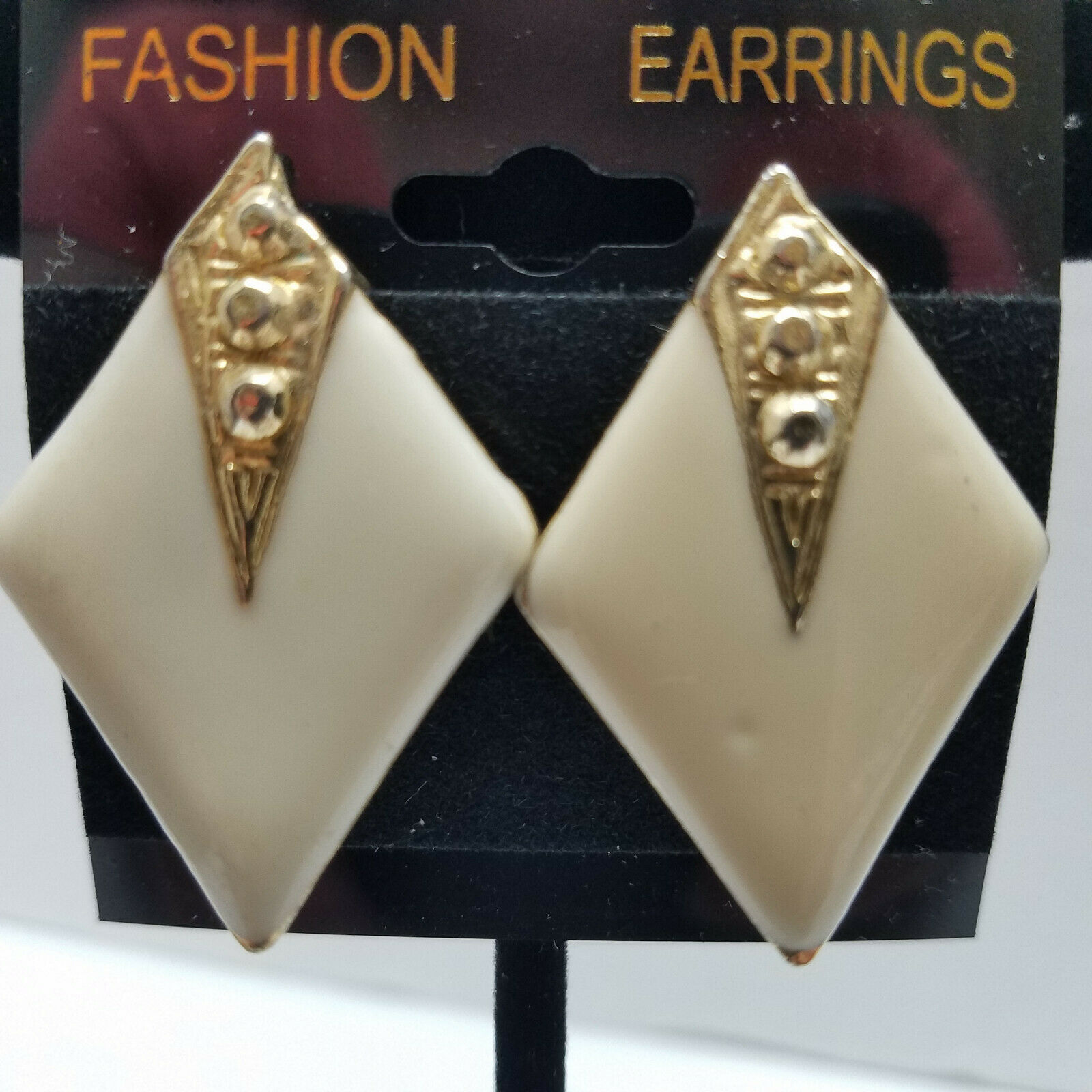 Primary image for Gold Tone Geometric Enameled Clip On Earrings