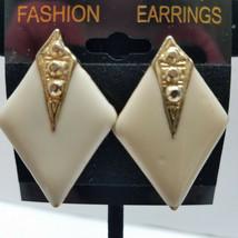 Gold Tone Geometric Enameled Clip On Earrings - $15.83