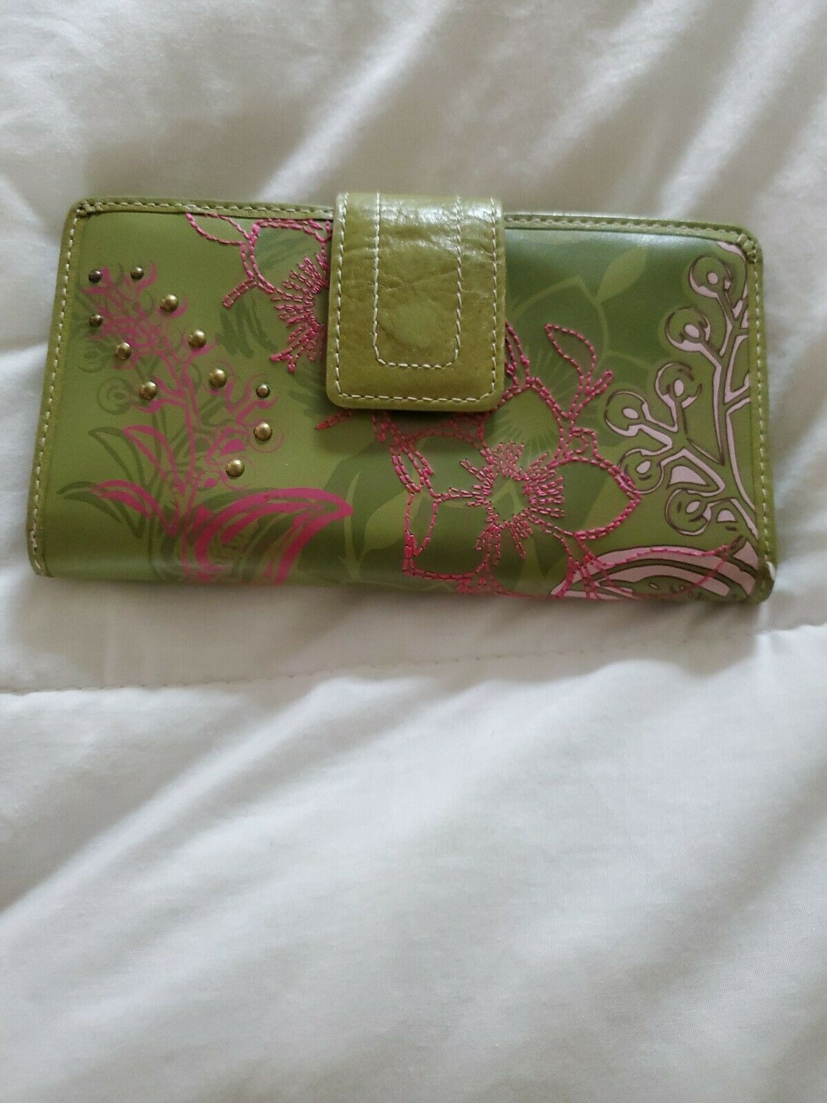 Fossil Leather Green Multicolor Floral Bi-Fold  Checkbook Wallet