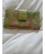 Fossil Leather Green Multicolor Floral Bi-Fold  Checkbook Wallet - $11.87
