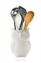 Comfify Owl Utensil Holder Decorative Ceramic Cookware Crock & White - $25.64 CAD