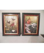 2 butterfly print wall hanging, framed prints, hummingbird print included - $22.50
