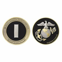 "MARINE CORPS 1ST FIRST LIEUTENANT BLACK GOLD SILVER EGA 1.75""  CHALLENGE... - $17.09"