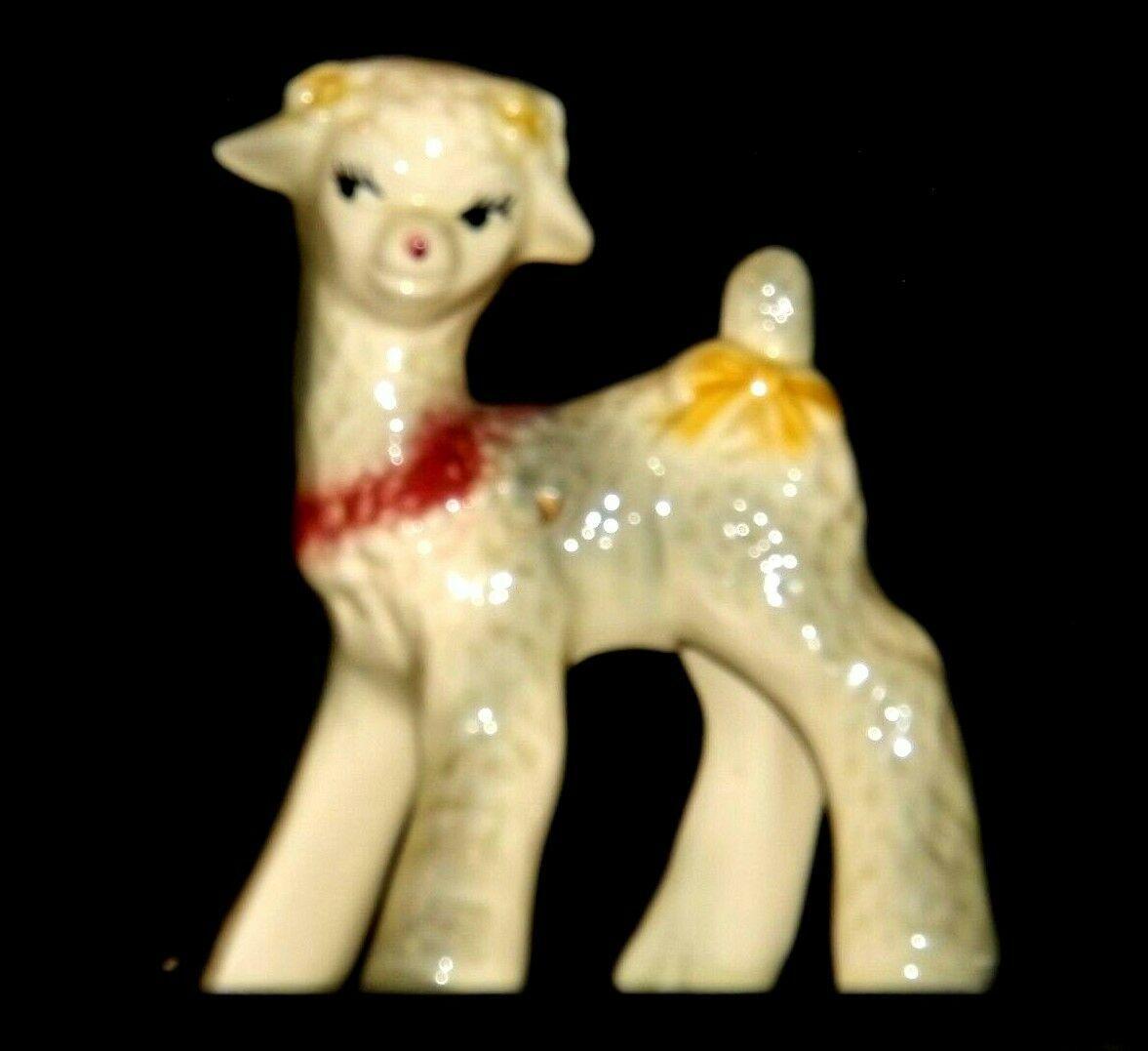 Ceramic Lamb Figurine AA19-1559 Vintage