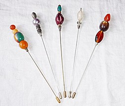 "*VINTAGE ORIGINAL DESIGNER UNIQUE HAT PINS 5 IN TOTAL 6"" A1 EXQUISITE CO... - $17.68"