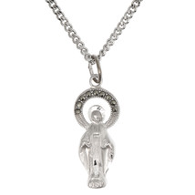 Sterling Silver Rhodium Plated Lady of Fátima Blessed Virgin Mary Necklace - $46.75