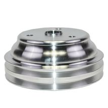 Chevy Small Block Long Water Pump Double Groove Aluminum Crankshaft Pulley image 6