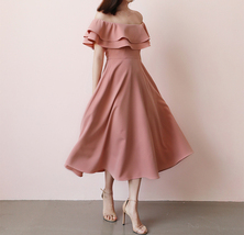 A Line Off Shoulder Tea Dress Wedding Bridesmaid Dress, Green Blush Burgundy image 5