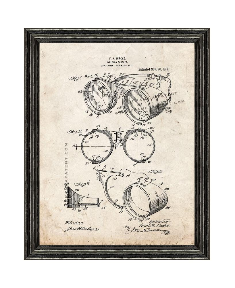 Primary image for Welding Goggles Patent Print Old Look with Black Wood Frame