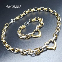 AMU 2017 New Women Fashion Jewelry Heart Chain Link Necklace Bracelet Sets Whole - $23.43