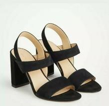 New $138 Ann Taylor Lorna Suede Heeled Sandals Black Sz 7 - $85.00