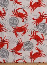 Cotton Crab Bake Crabs Newsprint Seafood Kitchen Cotton Fabric Print BTY... - $10.95