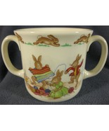 Royal Doulton Bunnykins Hug A Mug KNITTING 2 Handled Bone China England ... - $27.95