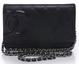 100% AUTH CHANEL Black Rue Cambon Quilted Lambskin WOC Wallet on Chain Bag SHW