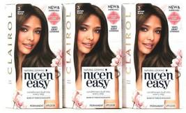 3 Clairol Nice N Easy Color Care Formula 3 Brown Black Permanent Hair Color - $26.99